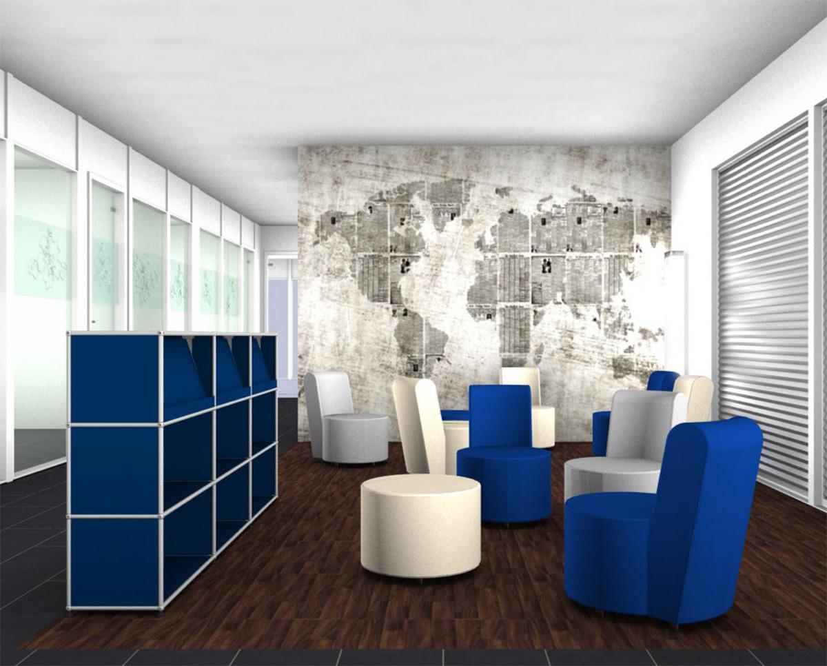 Am Computer geplanter Lounge Bereich