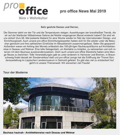 pro office News Mai 2019