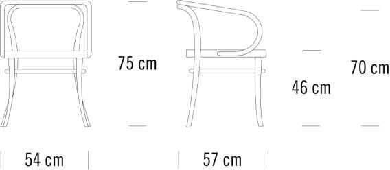 Maße des Thonet 209