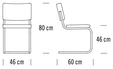 Maße Thonet S 32 PV