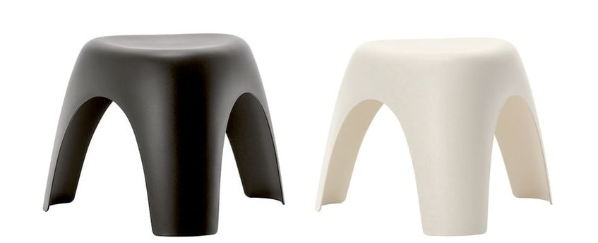 Elephant Stool black and white;