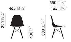 Maße Eames Fiberglass DSW