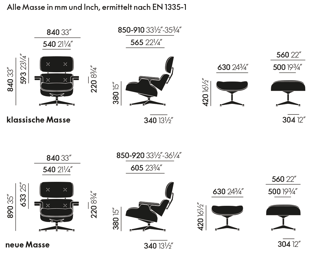 Lounge Chair mit Ottoman Abmessungen
