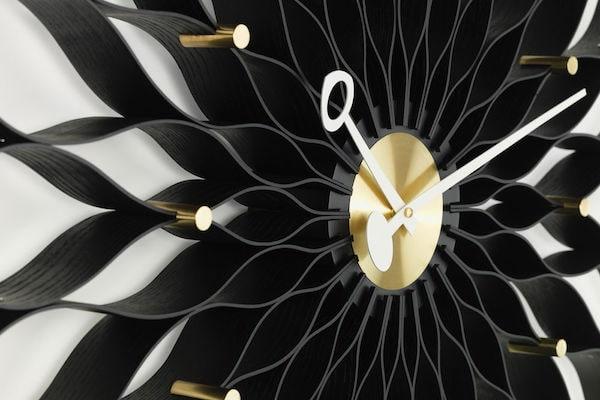 Sunflower Clock Esche schwarz