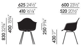 Vitra Eames Fiberglass DAX Maße