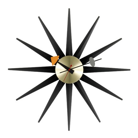 Vitra Sunburst Clock schwarz messing, George Nelson, 1948/60