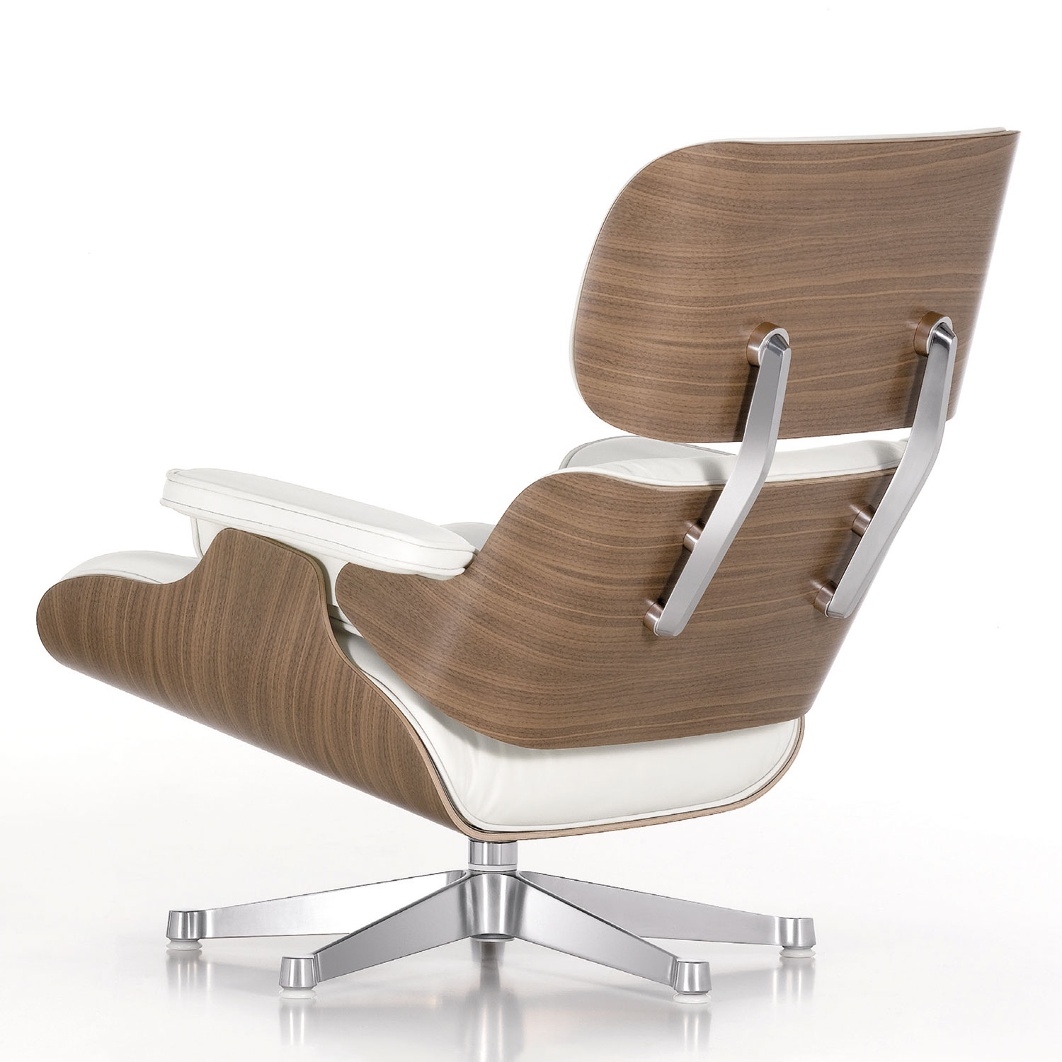 Vitra lounge chair white nussbaum leder design eames for Vitra lounge chair nachbau