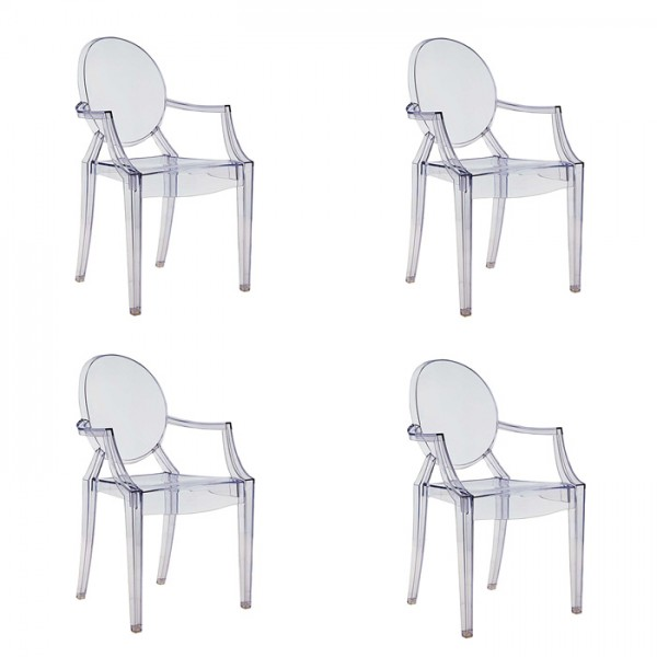 Louis Ghost Armstuhl von Philippe Starck - 4er Set